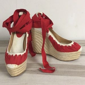 Christian Louboutin Red White Canvas Wedge 35